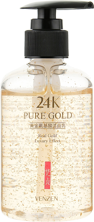 Пенка для глубокого очищения кожи лица с аминокислотами и био золотом - Venzen 24к Gold Amino Acid Cleanser
