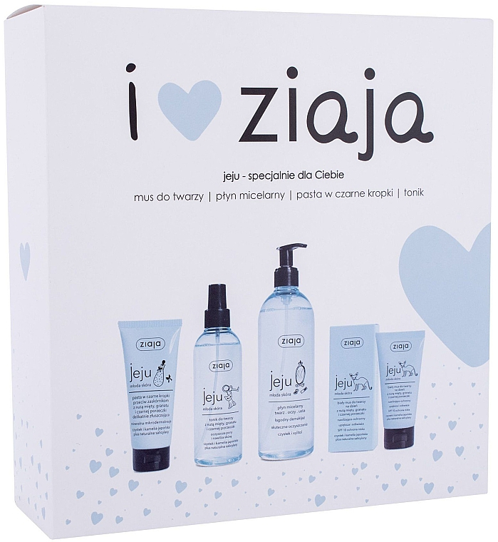 Набор - Ziaja I Love Ziaja (f/paste/75ml + f/tonic/200ml + mincellar/water/390ml + f/muss/50ml)