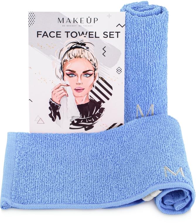 """Дорожный набор полотенец для лица, голубые """"MakeTravel"""" - Makeup Face Towel Set"""