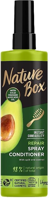 Экспресс-кондиционер для восстановления волос и против секущихся кончиков с маслом авокадо холодного отжима - Nature Box Repair Vegan Spray Conditioner With Cold Pressed Avocado Oil