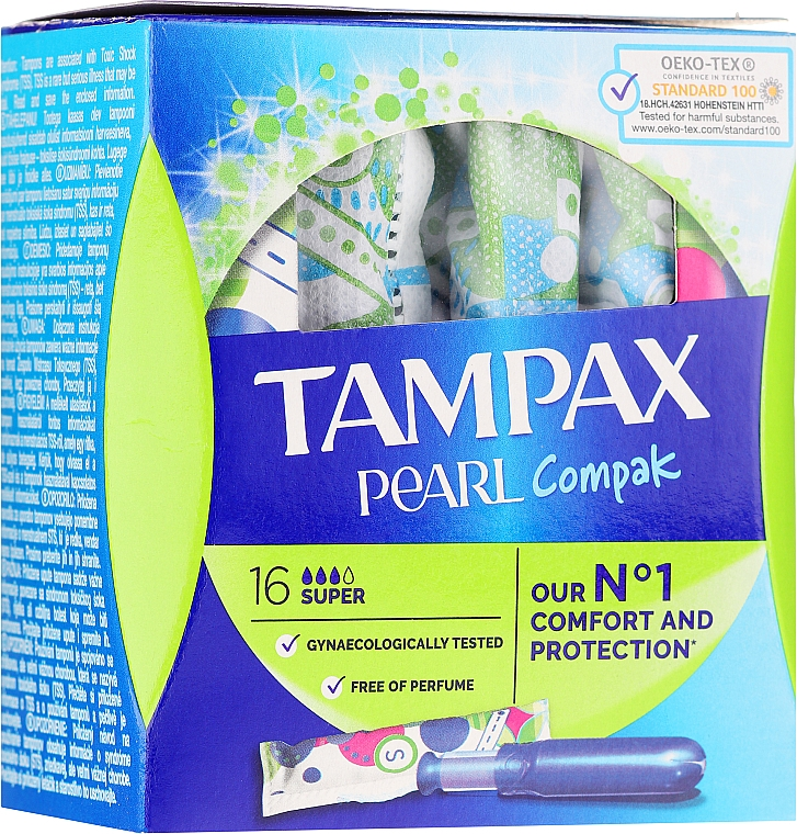 Тампоны с аппликатором, 16шт - Tampax Compak Pearl Super