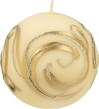 Духи, Парфюмерия, косметика Декоративная свеча, шар, кремовый с завитушками, 8 см - Artman Christmas Ornament