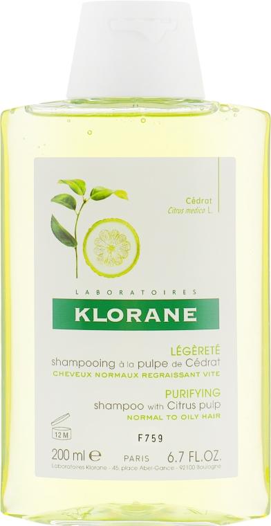 Шампунь с лимоном тонизирующий для блеска - Klorane Shampoo With Citrus Pulp