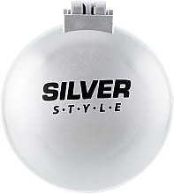 Духи, Парфюмерия, косметика Расческа складная с зеркалом, круглая, РМ-2064, серая - Silver Style