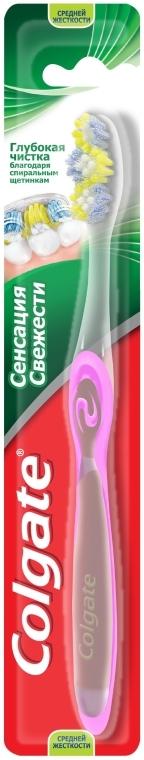 """Зубная щетка """"Сенсация свежести"""" средней жесткости, розовая - Colgate Medium Toothbrush — фото N1"""