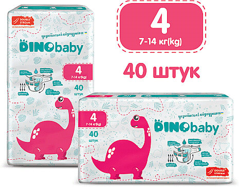 Подгузники детские 4 (7-14кг), 40 шт - DinoBaby