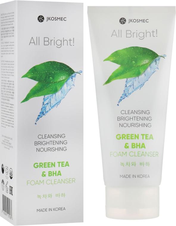 Пенка для умывания с экстрактом зелёного чая и BHA - Jkosmec All Bright Basic Green Tea and BHA Foam Cleanser