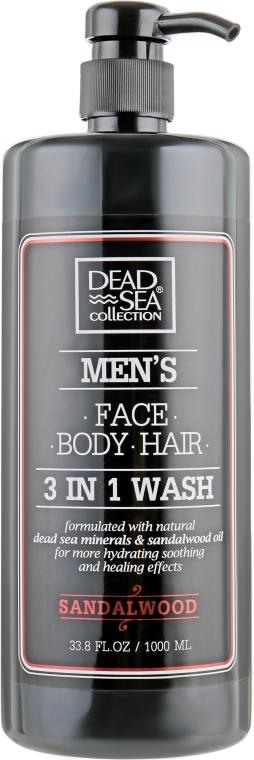 Гель для душа, волос и лица для мужчин - Dead Sea Collection Men's Sandalwood Face, Hair & Body Wash 3 in 1