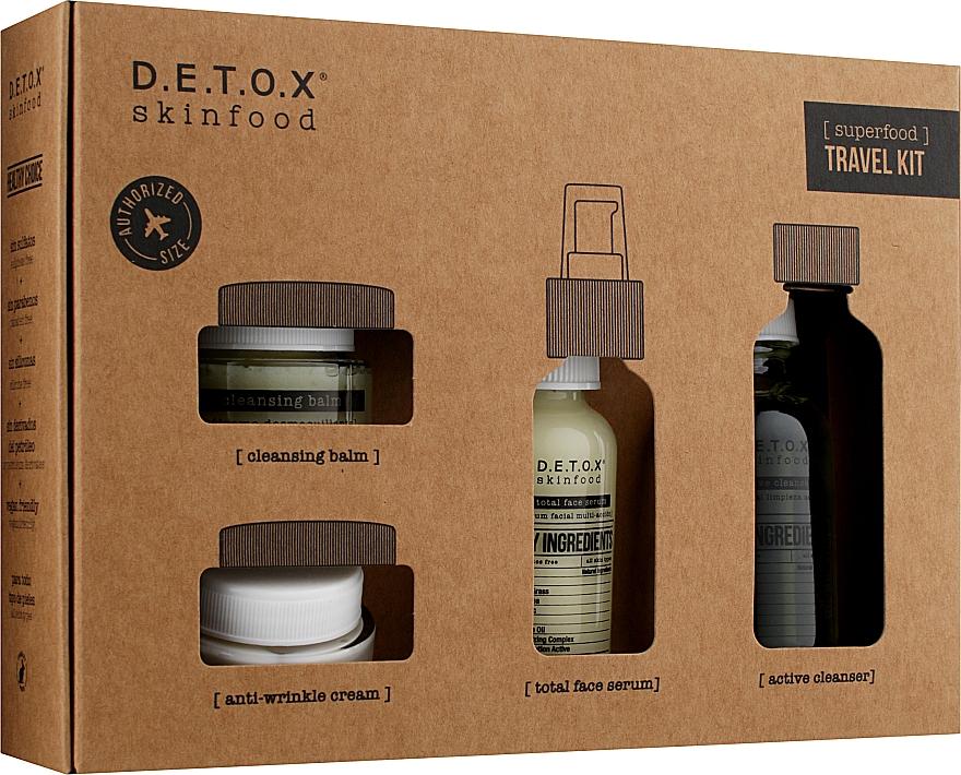 Набор - D.E.T.O.X. Skinfood Travel Kit (gel/60ml + serum/30ml + cr/20ml + balm/20ml)