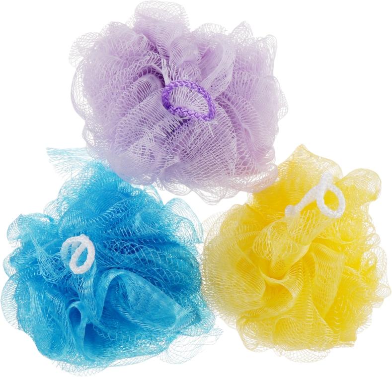 """Губка банная сетчатая """"Bant"""", фиолетовая + желтая + синяя - Акватория"""