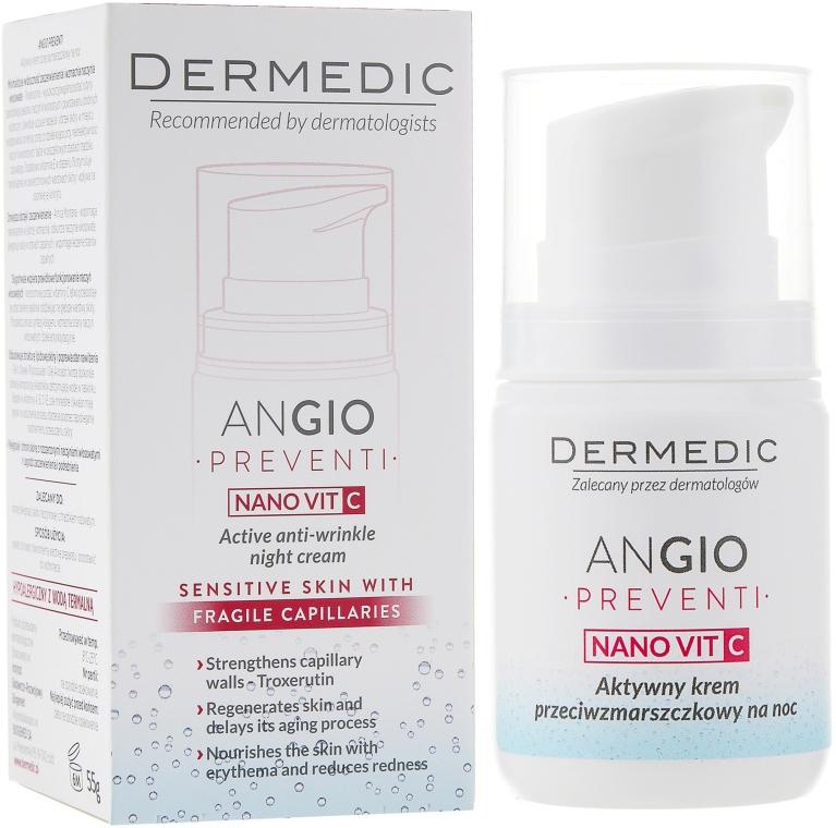 Активный ночной крем против морщин для кожи склонной к покраснениям - Dermedic Angio Preventi Active Anti-Wrinkle Night Cream — фото N1