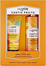 Духи, Парфюмерия, косметика Набор - I Love Signature Hand & Body Duo Exotic Fruits (h/cr/100ml + b/wash/360ml)