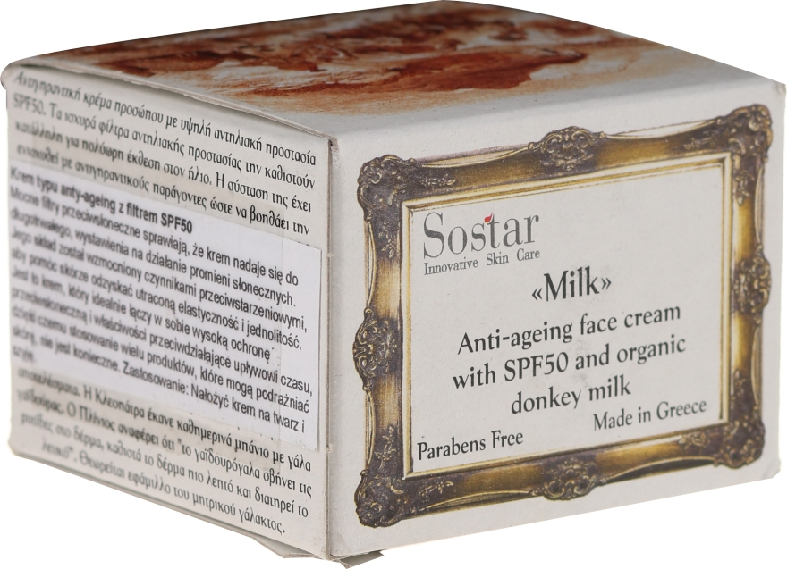 Антивозрастной крем для лица - Sostar Anti-Ageing Face Cream SPF50 with Donkey Milk