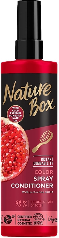 Экспресс-кондиционер для окрашенных волос с гранатовой маслом холодного отжима - Nature Box Color Vegan Spray Conditioner With Cold Pressed Pomergranate Oil