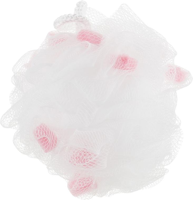 Мочалка синтетическая большая, розово-белая - Balmy Naturel Bath Pouf Large — фото N1