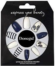 Духи, Парфюмерия, косметика Набор искусственных ногтей 3034, синие с белым - Donegal Express Your Beauty