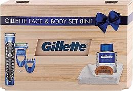 Духи, Парфюмерия, косметика Набор - Gillette Face & Body Set 8in1 (styler/1pc + ash/lot/100ml + box + towel + crest)