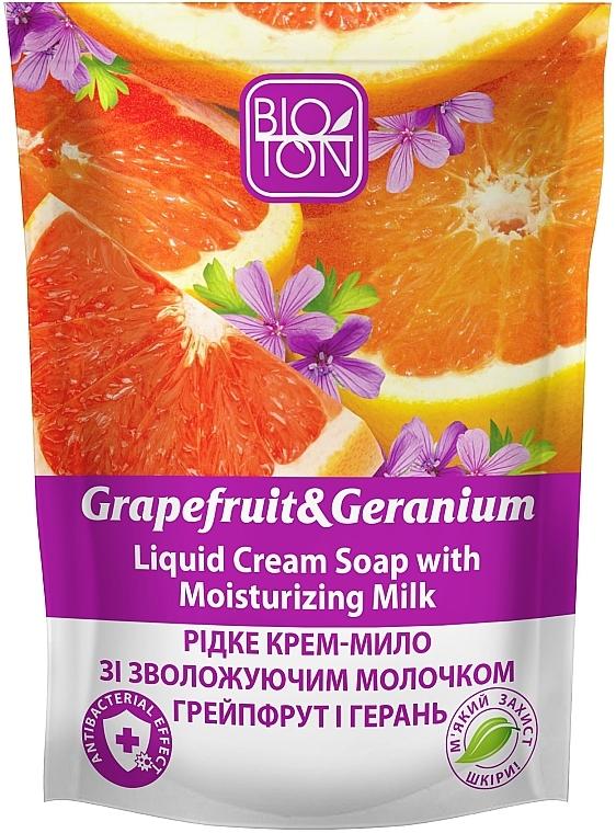 """Жидкое крем-мыло """"Грейпфрут и Герань"""" - Bioton Cosmetics Active Fruits """"Grapefruit & Geranium"""" Soap (дой-пак)"""