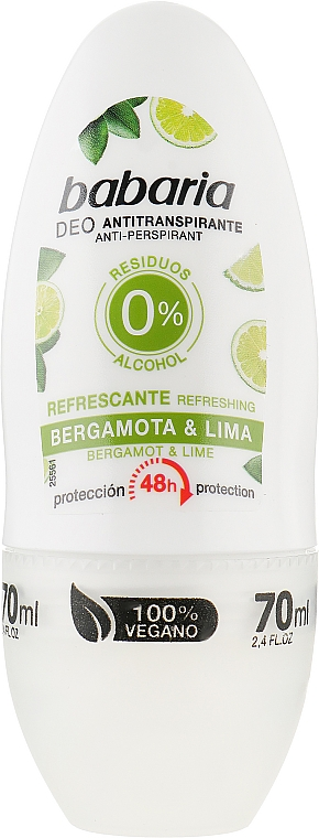Роликовый дезодорант - Babaria Bergamot And Refreshing Lime Deodorant Roll-on