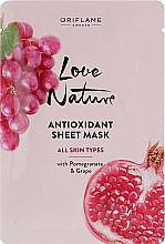 Духи, Парфюмерия, косметика Антиоксидантная тканевая маска с гранатом и виноградом - Oriflame Love Nature