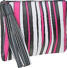Духи, Парфюмерия, косметика Косметичка-клатч, черная в бело-розовую полоску - Shiseido