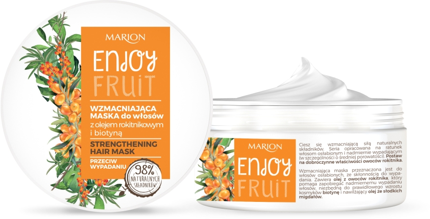 Укрепляющая маска для волос с маслом облепихи - Marion Enjoy Fruit Strengthening Hair Mask