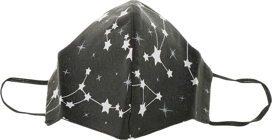"""Маска тканевая-защитная для лица, черная """"Принт созвездия"""", размер М - Gioia"""