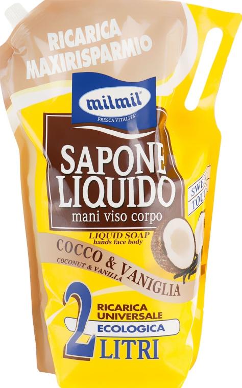 """Мыло жидкое для лица, рук и тела """"Кокос и ваниль"""" - Mil Mil"""