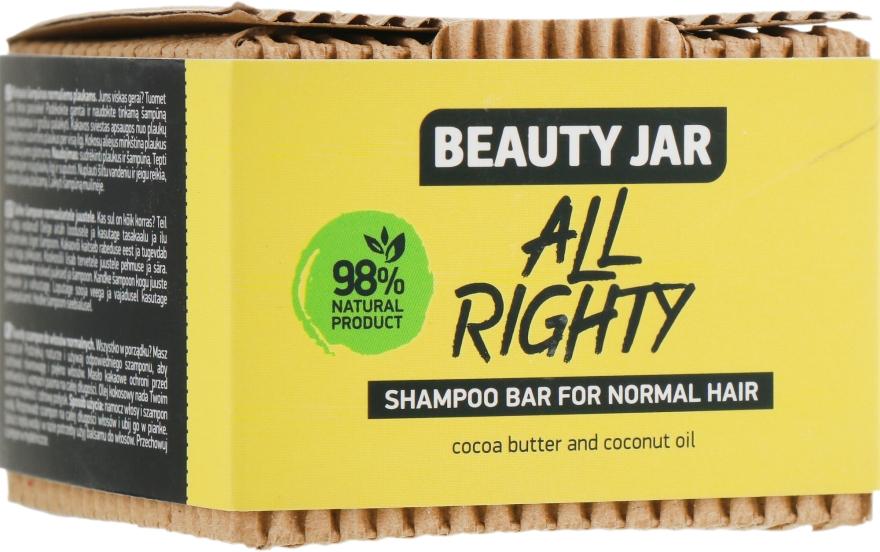 Твердый шампунь для нормальных волос с маслом кокоса и какао - Beauty Jar Hair Care All Righty Shampoo