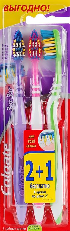 "Зубная щетка 360 ""Зигзаг"" средняя 2+1, фиолетовая+розовая+зеленая - Colgate"