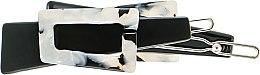 "Духи, Парфюмерия, косметика Заколка для волос ""Пряжка"", 078, черно-белая - Элита"