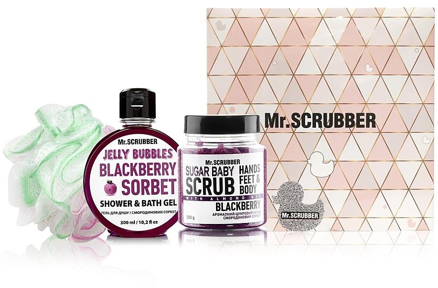 """Набор - Mr.Scrubber """"Blackberry"""" (body/scr/300 g + sh/gel/275 ml + sh/sponge)"""