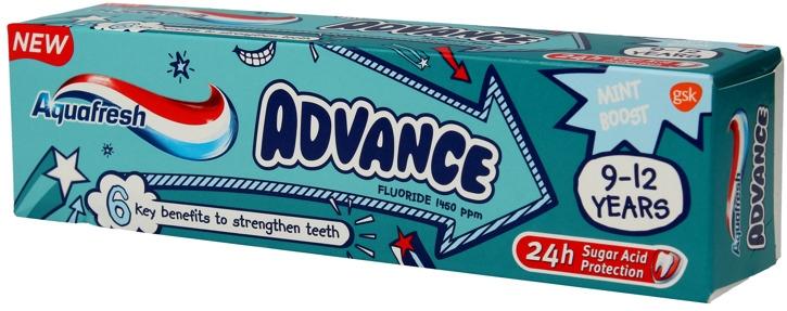 Детская зубная паста - Aquafresh Advance 9-12 Years