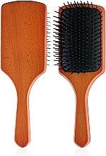 Духи, Парфюмерия, косметика Деревянная массажная щетка для волос 00590, квадратная - Eurostil Paddle Brush