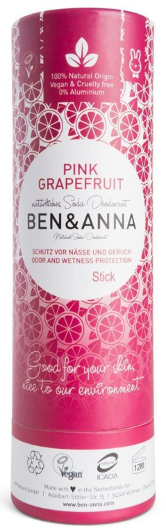 "Дезодорант на основе соды ""Розовый грейпфрут"" (картон) - Ben & Anna Natural Soda Deodorant Paper Tube Pink Grapefruit — фото N1"