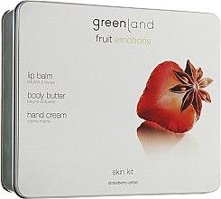 Духи, Парфюмерия, косметика Набор - Greenland Fruit Emotion Strawberry-Anise (lip/balm/3.9g + b/butter/120ml + h/cr/75ml)