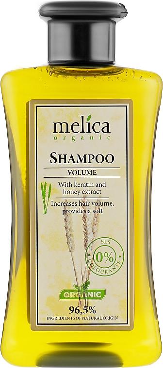 """Шампунь для волос """"Большой объем"""" с кератином и экстрактом меда - Melica Organic Volume Shampoo"""