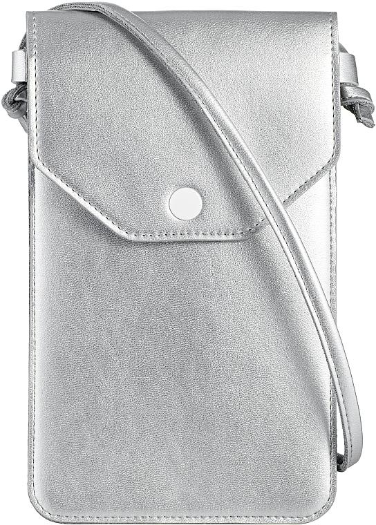 "Чехол-сумка для телефона на ремешке, серебро ""Cross"" - Makeup Phone Case Crossbody Silver"