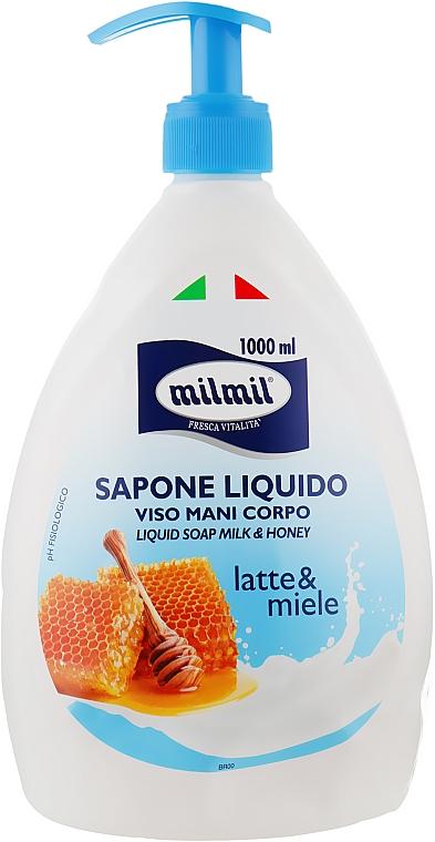 """Жидкое мыло """"Молоко и мед"""" с дозатором - Mil Mil"""
