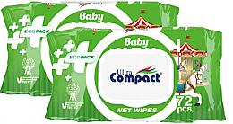 Духи, Парфюмерия, косметика Набор детских влажных салфеток с клапаном, 3х72 шт - Ultra Compact Baby Ecopack Wet Wipes