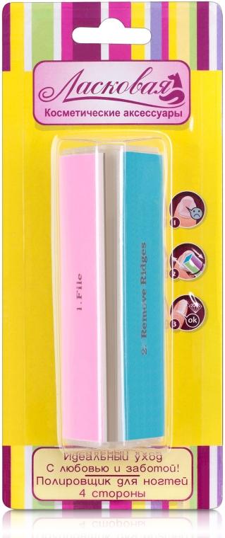 Полировка-баф для ногтей трехсторонняя разноцветная - Ласковая
