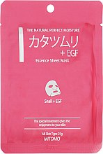 "Тканевая маска для лица ""Экстракт улитки + EGF"" - Mitomo Essence Sheet Mask Snail + EGF — фото N1"