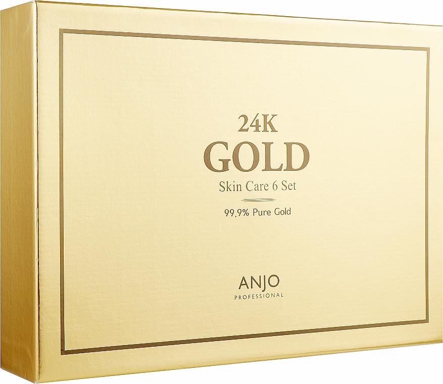 Набор - Anjo Professional 24K GoldSkin Care 6 Set ( toner/120ml + toner/mini/30ml + emulsion/120ml + emulsion/mini/30ml + cr/50ml + essence/35ml + ampoule/35ml + eye/cr/30ml)