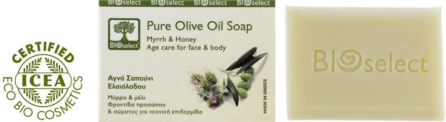 Натуральное оливковое мыло с миррой и медом - BIOselect Pure Olive Oil Soap Myrrh & Honey