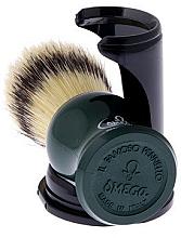 Помазок для бритья 80265 на подставке, зеленый - Omega — фото N3