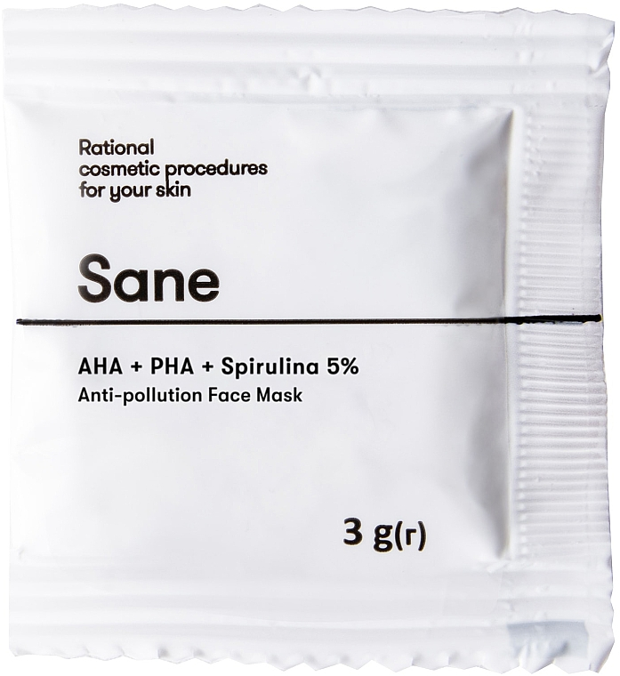 Маска для лица против токсинов с AHA + PHA + спирулина 5% - Sane Anti-Pollution Face Mask (пробник)