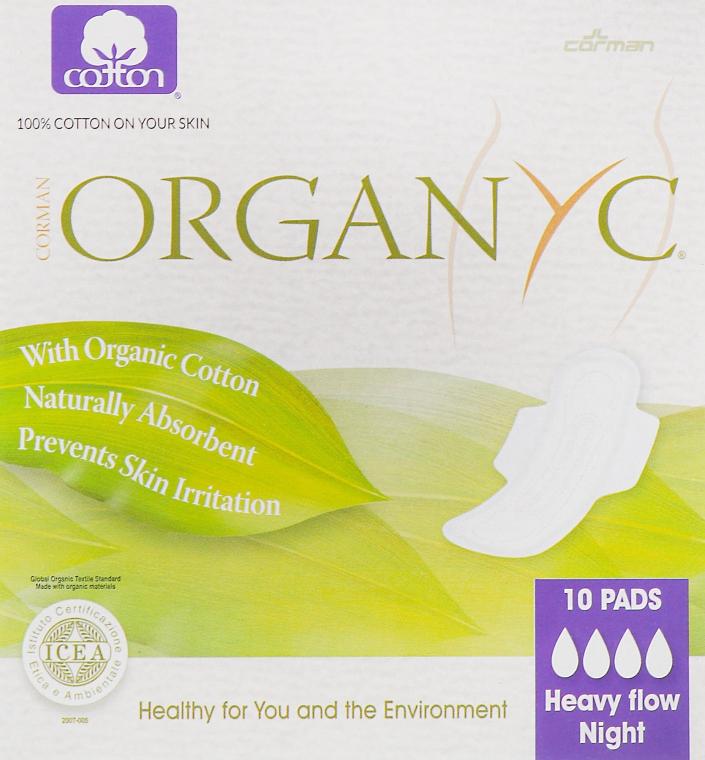 Гигиенические ночные прокладки с крылышками, 10 шт - Corman Organyc Wings Heavy Flow