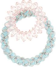 Духи, Парфюмерия, косметика Резинки для волос, 414562, голубая клетка + прозрачно-розовая - Glamour