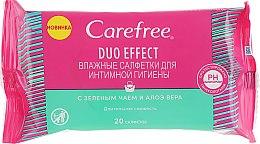 Духи, Парфюмерия, косметика Влажные салфетки для интимной гигиены с зеленым чаем и алоэ вера - Carefree Duo Effect
