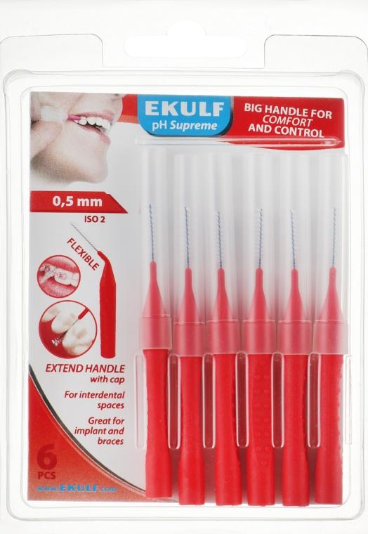 Щетки для межзубных промежутков, 0.5 мм, красные - Ekulf Ph Supreme